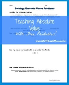 FREE lesson for understanding the meaning of absolute value! A great way to help students make sense of a difficult topic!