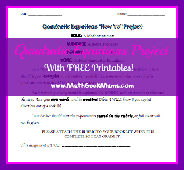 Quadratic Equations Project (with FREE printables!)