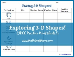 "Free printable worksheets for recognizing 3D shapes and their nets! Includes a shape chart, matching page and a ""net or not?"" worksheet."