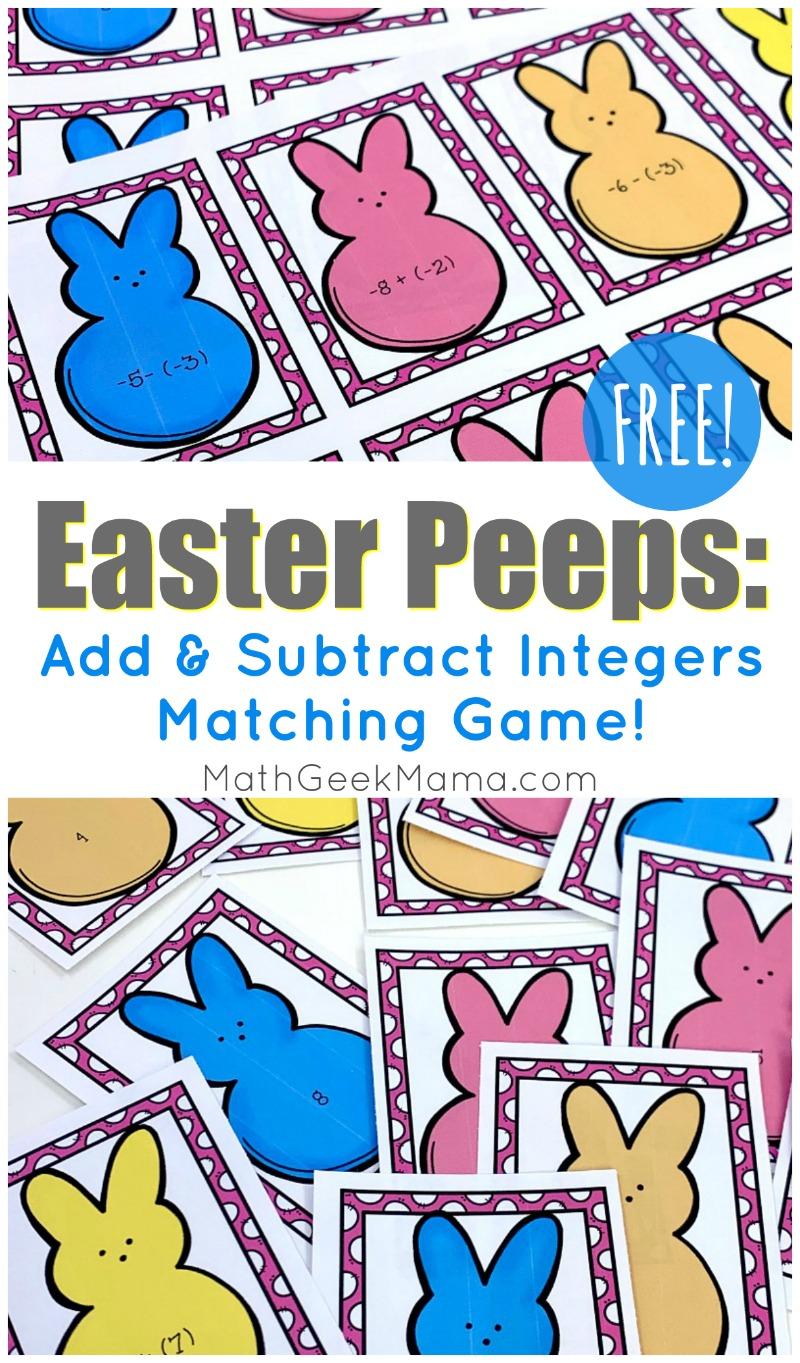 Easter Peeps Add Subtract Integers Game Free Math Geek Mama