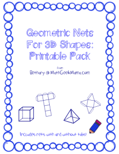 Free Geometric Nets Printable Pack! A great way to introduce three-dimensional shapes to kids of all ages!