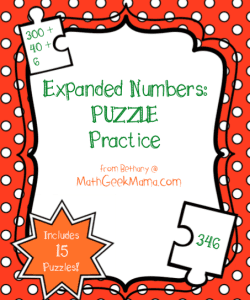 Expanded Numbers Puzzles {FREE!}
