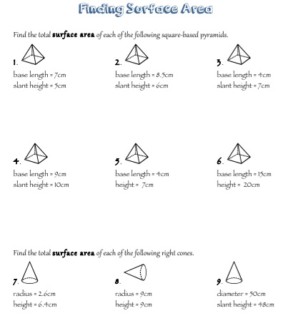 Worksheets Surface Area Of A Pyramid Worksheet free surface area worksheets sa worksheet