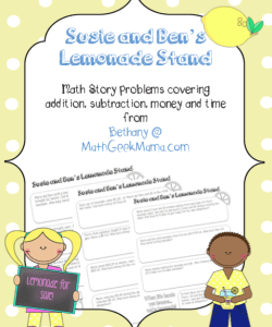 Lemonade Stand Word Problems for Kids {FREE!}