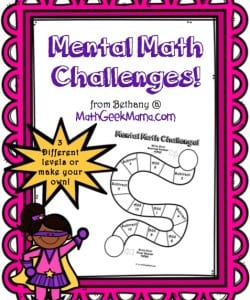 FREE mental math challenges to help kids practice important math skills!