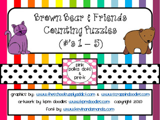Brown Bear Counting puzzles