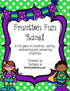 Fraction Race Game_Add Subtract and Compare
