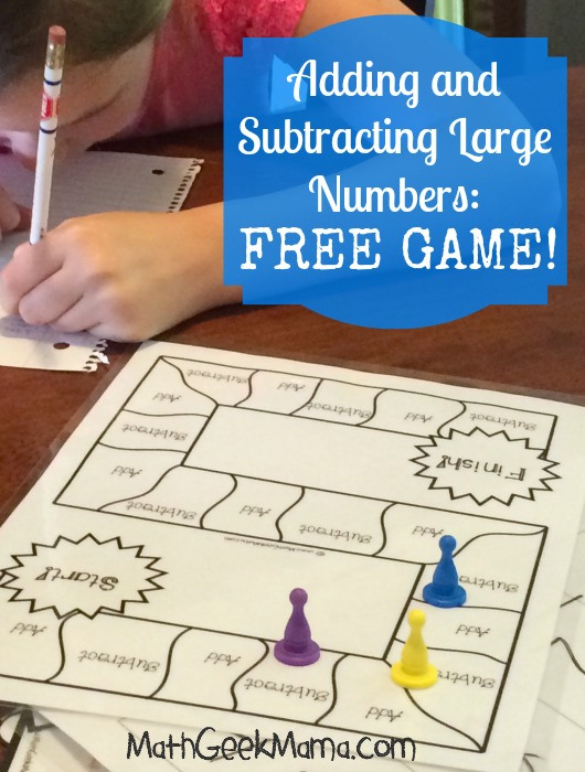 Adding and Subtracting Large Numbers Game