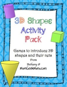 A collection of printable 3D shape cards to use for a variety of games! Great for introducing young kids to shapes and patterns or helping older ones work with shape nets.