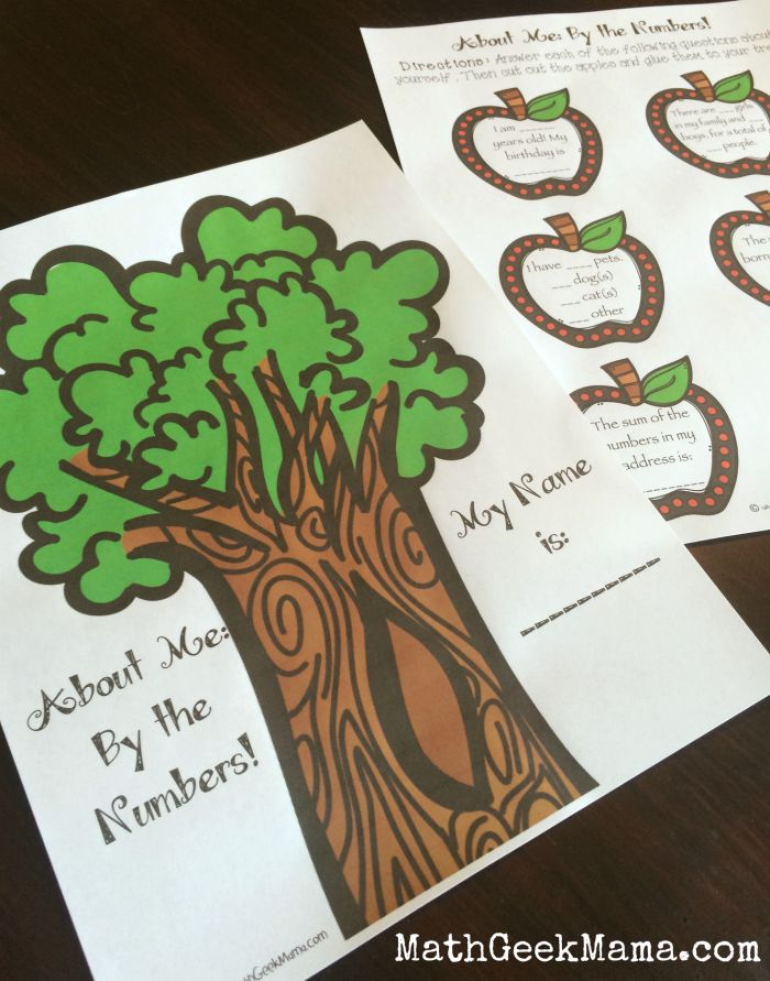 Apple Tree About Me Math Activity_MathGeekMama