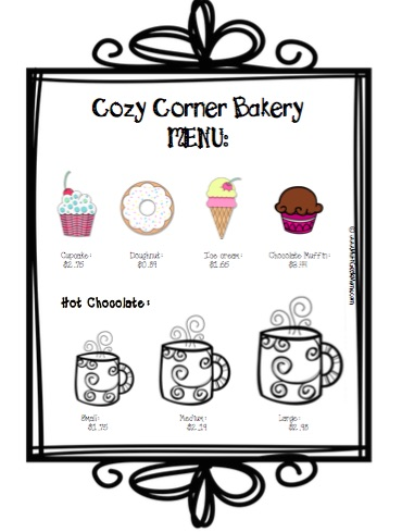 Cozy Corner Bakery Money Activity Menu