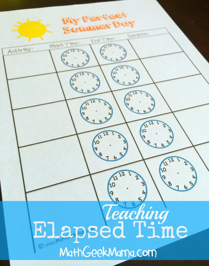 Elapsed Time Free Practice Page_Math Geek Mama
