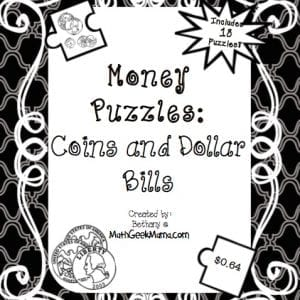 FREE money puzzles to help kids add coins and dollar bills, as well as recognize money words!