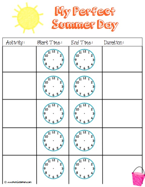 Perfect Summer Day Elapsed Time Activity