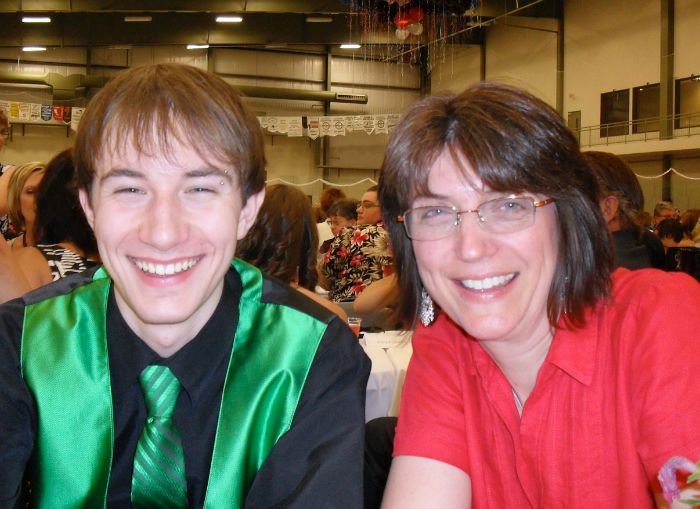 "Here is Sharon and her son on graduation day. ""A proud day, indeed!"" she gushed!"