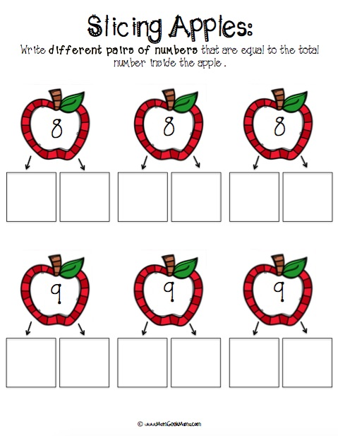 Cute, FREE printable pages to help kids work on number bonds! Use apple slices for a fun hands-on approach!