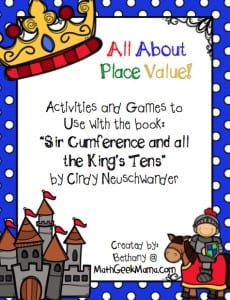 """FREE game to use with the book, """"Sir Cumference and All the King's Tens!"""" Such a fun story to help teach place value!"""