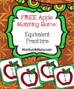 FREE Apples Equivalent Fractions Matching Game!