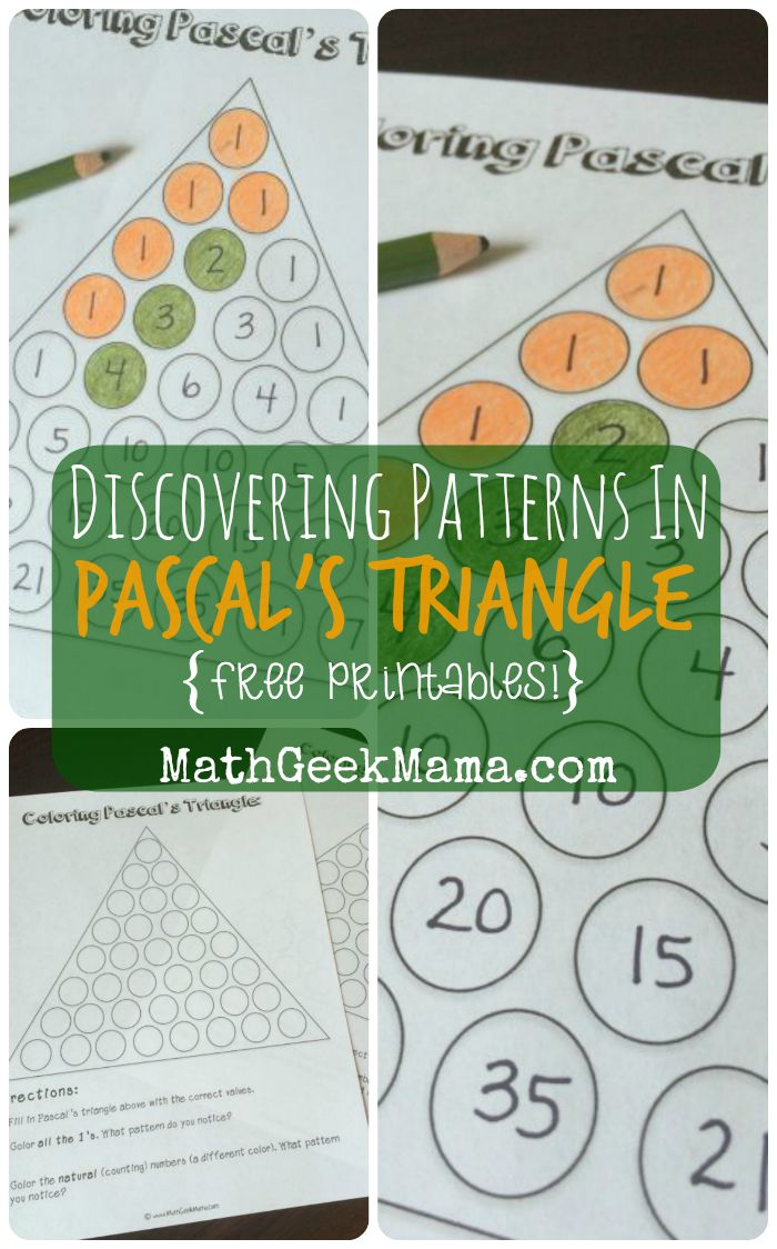 Exploring Patterns in Pascal\'s Triangle {FREE Printables!}