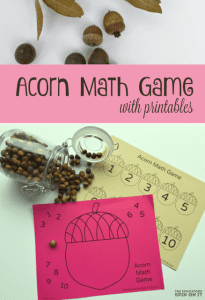 Acorn Math Game for Kids with printables by Kim Vij