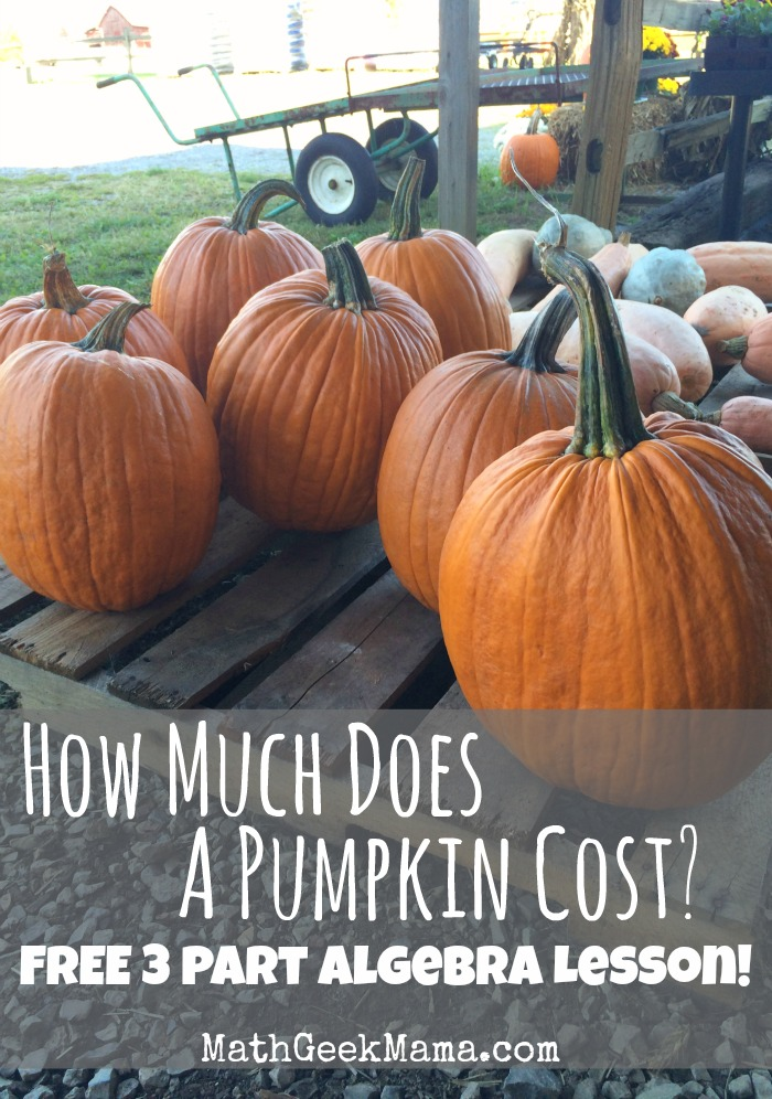 This Algebra lesson for finding the cost of a pumpkin is a great real life example of linear equations!
