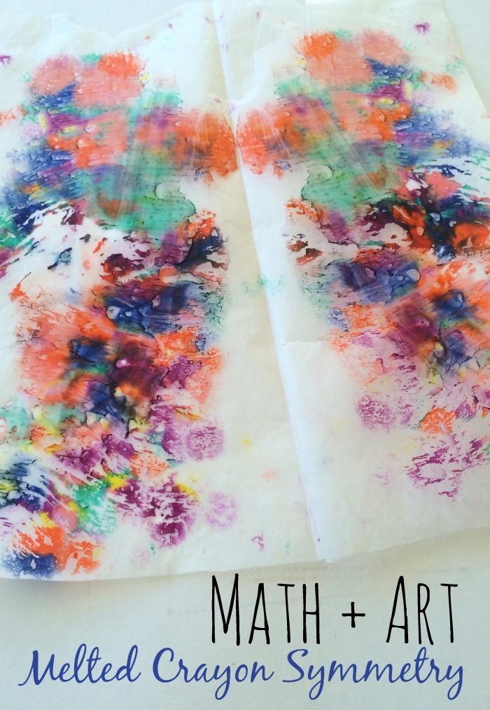 I love this simple, melted crayons art project for introducing symmetry!