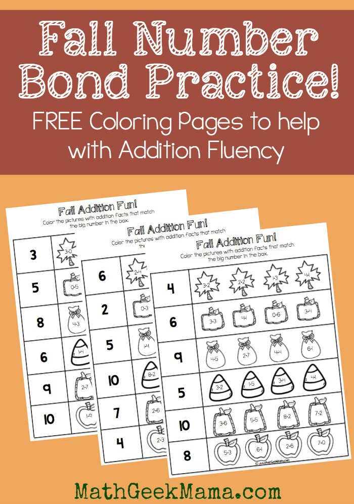 Math Coloring Pages 6th Grade : Fall number bond practice! {free printables!}