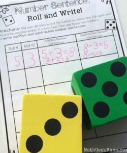 Number Sentence Roll and Write {FREE!}