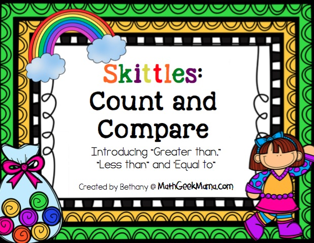 This fun and free Skittles Math printable pack is a great way to help kids practice counting as well as comparing numbers! Three different ways to use it, depending on the age of your kids!