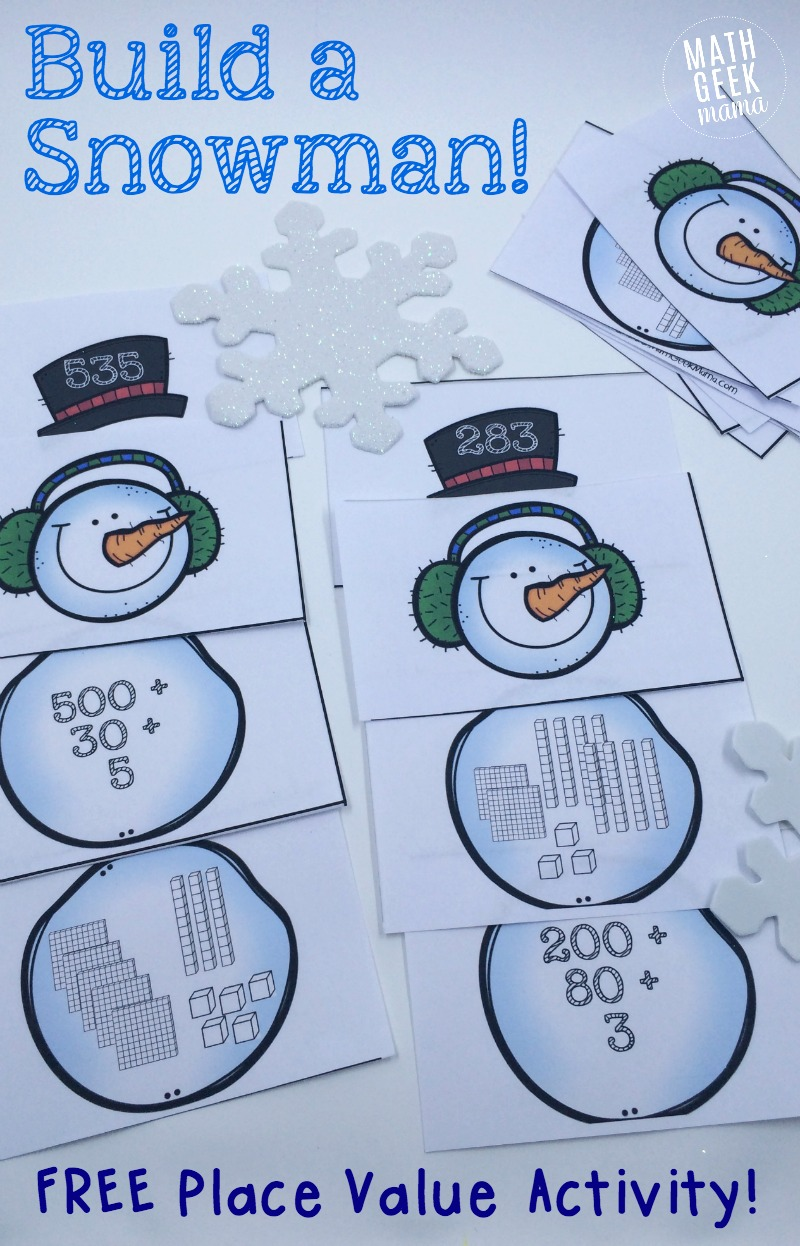 Simple snowman themed place value activity this fun and simple to use place value activity is perfect for a snowy day falaconquin