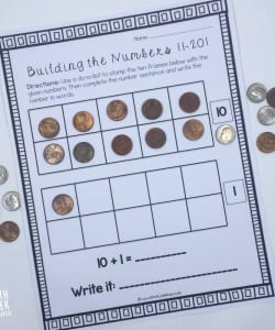 This set of interactive worksheets is perfect for helping kids understand the numbers 11-20, as well as building a foundation for place value. There are several hands-on ways to use them, as well as practice writing out the number words! Easy math fun for grades K-1!