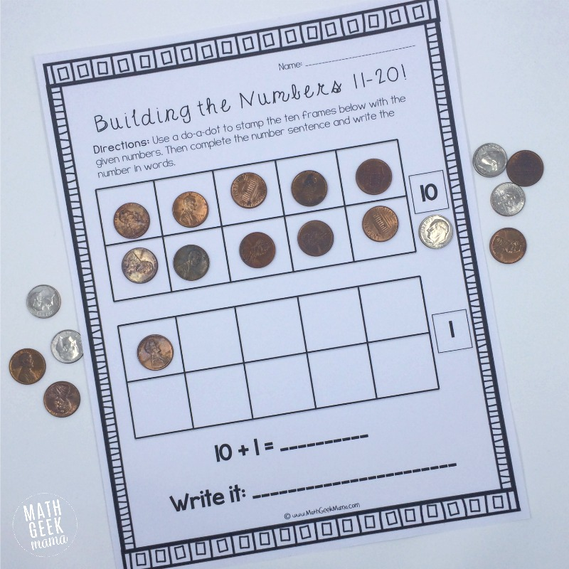 math worksheet : building the numbers 11 20 free printables! : Interactive Worksheets For Kindergarten