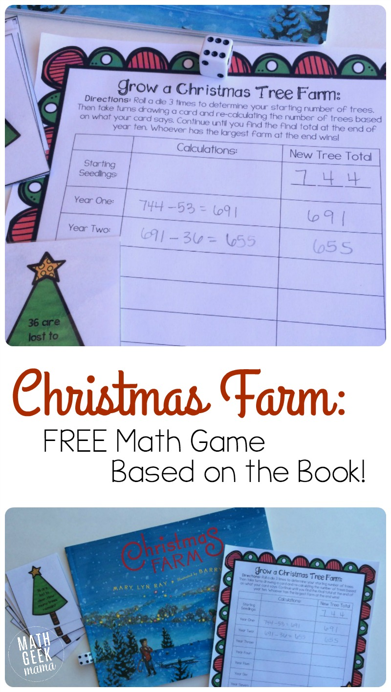 This beautiful Christmas book is a great way to explore math and science! Learn about growing trees, as well as working with large numbers with this fun and FREE printable game!