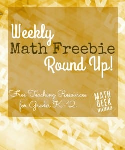 Weekly Math Freebie Round Up!