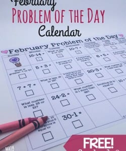 February Math Problem of the Day {FREE Printable!}