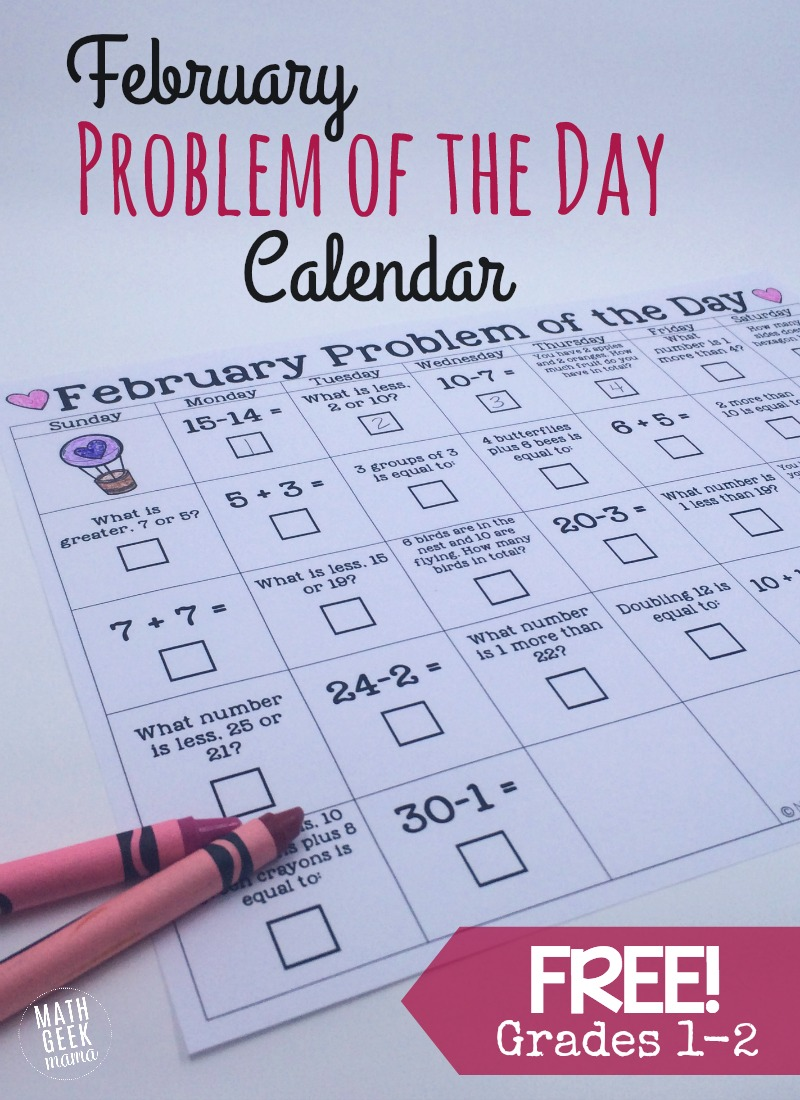 February Math Problem of the Day Calendar {FREE}