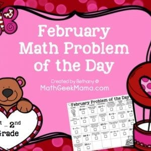 This low-prep printable calendar is a great way to let kids do a math problem of the day each day in February! This free calendar is perfect for grades 1-2!