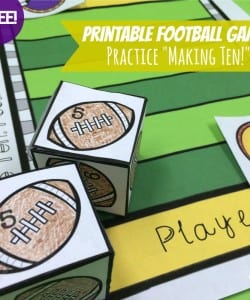 This adorable football themed addition game is great for helping kids learn how to make ten, as well as increasing fact fluency!