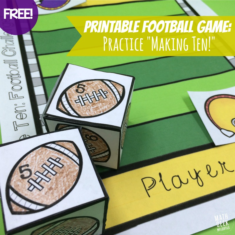 Football Themed Addition Game {FREE!}