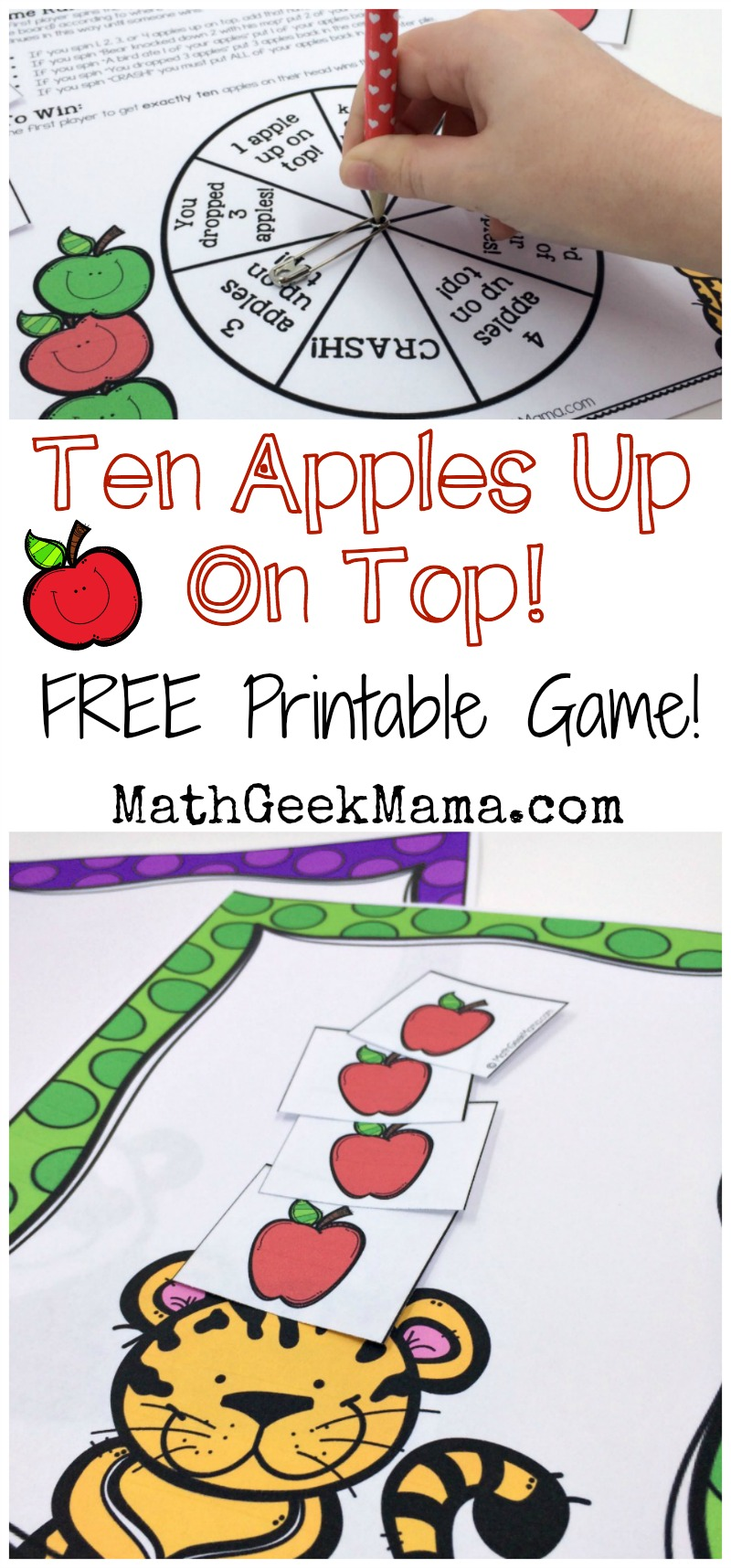 "This super cute printable math game is perfect to play with the book, ""Ten Apples Up On Top!"" Kids can practice counting and adding and subtracting to 10! Plus, it's a great way to combine math and reading!"