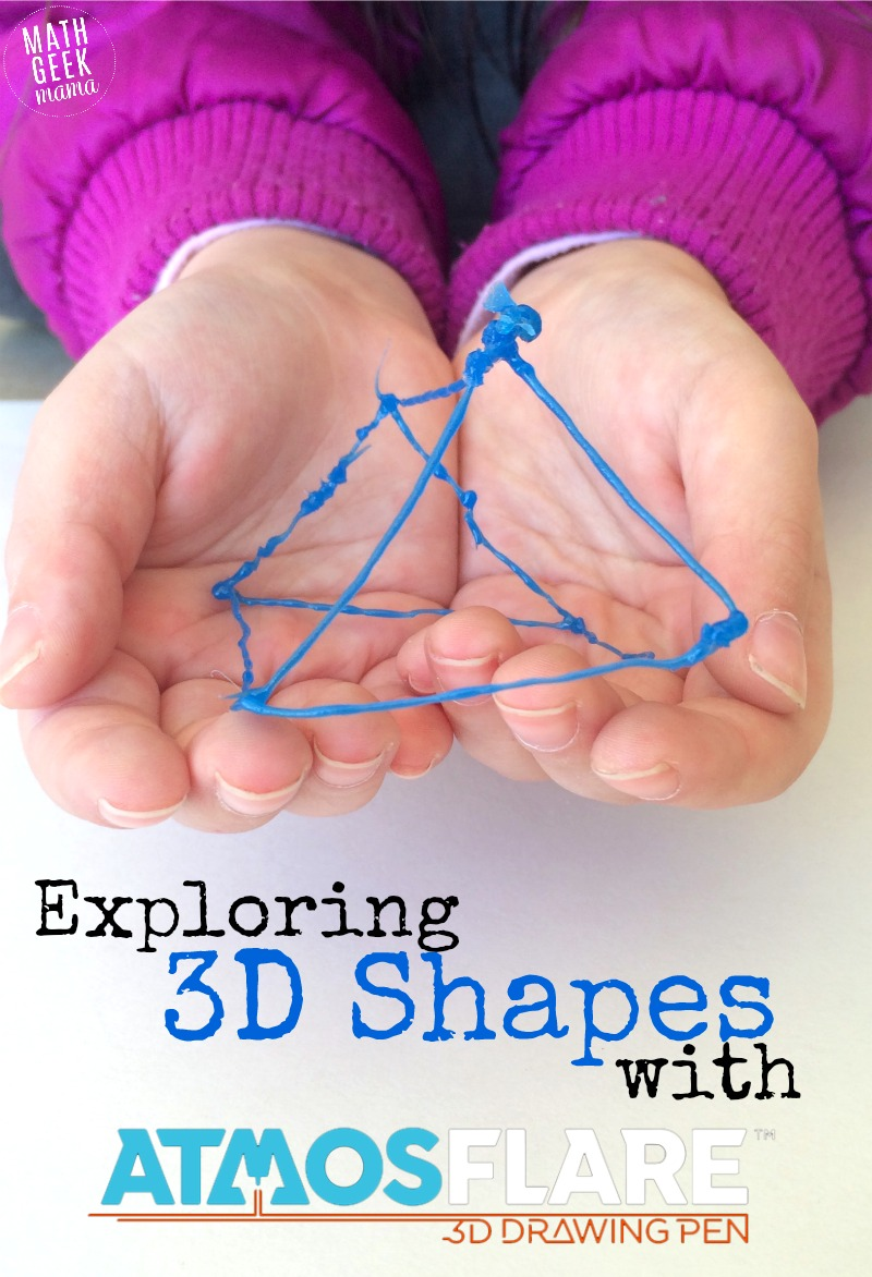 Learning about 3D shapes with Atmosflare 3D pen is such a fun and hands on way to learn about shapes and see how all the sides fit together! Plus you have the finished product to admire!