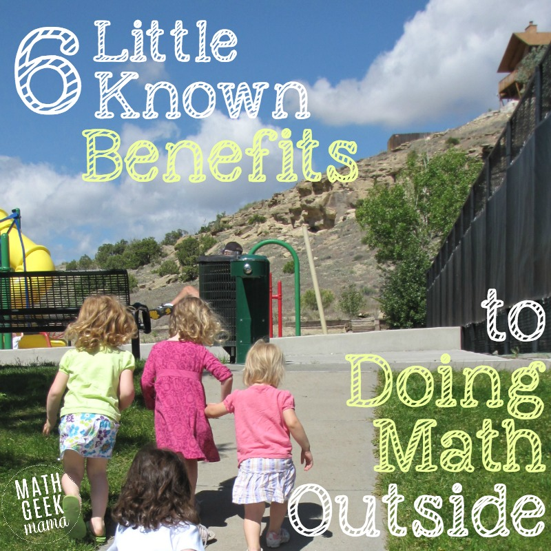 There are so many great reasons to take learning outside, especially math! I love this list of benefits and list of outdoor math ideas!