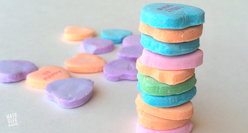 This simple challenge lets kids explore engineering and math, as well as work on fine motor skills! All you need is a bag of conversation hearts for hours of math fun and learning!
