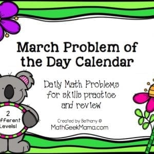 This fun printable Math Problem of the Day Calendar is a fun and simple way to weave math into everyday! Two different levels for multiple ages of kids to enjoy!