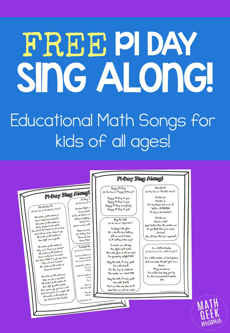 Pi Day Sing Along Free song lyrics – Pi Day Worksheets