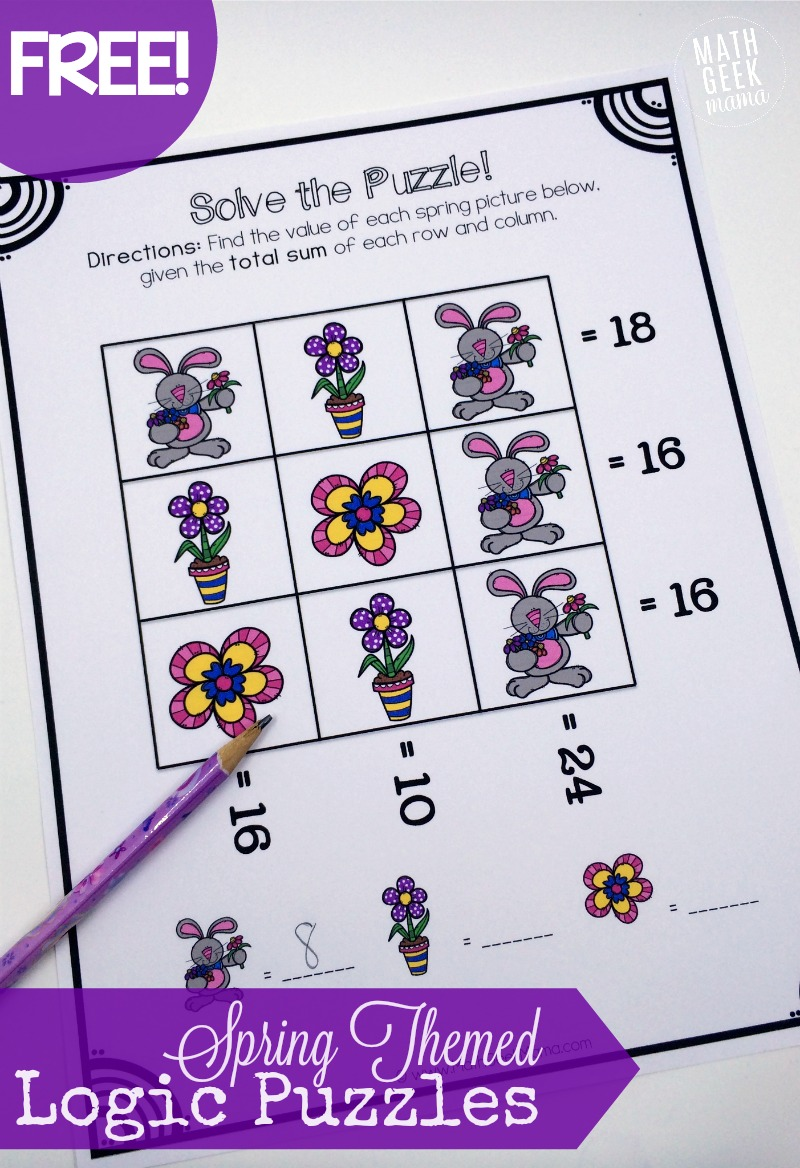 Spring Themed Logic Puzzles FREE – Math Logic Puzzle Worksheets