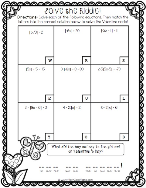 This resource is so cute! Fun and free practice pages for Algebra students including order of operations, linear equations, quadratic equation and absolute value equations.
