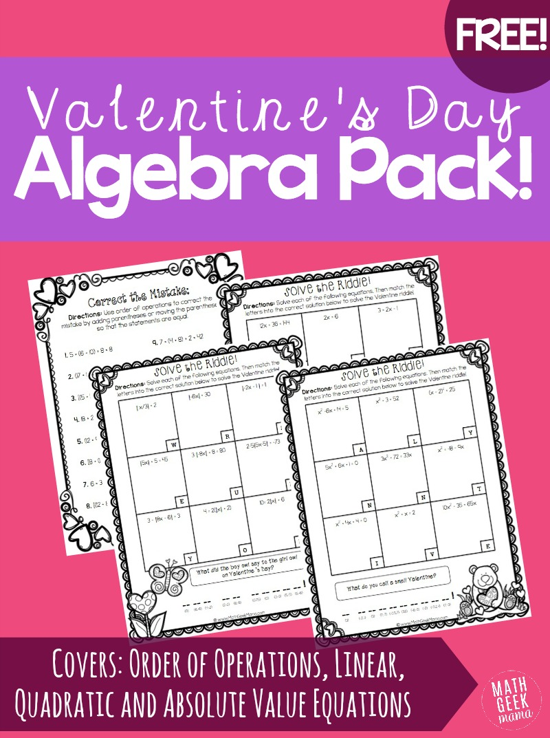graphic relating to Free Printable Valentine Worksheets titled Valentines Working day Algebra Coach Pack! No cost!