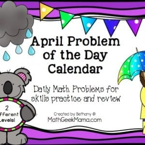 This super fun April Math Problem of the Day calendar is simple to use and lets kids practice a little math each day! Plus, kids love the fun twist that makes these unique!