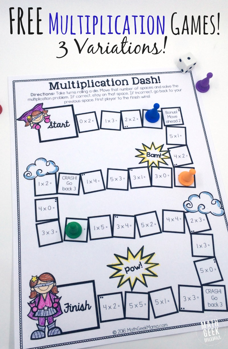 math worksheet : easy low prep printable multiplication games! free : Math Worksheet Games